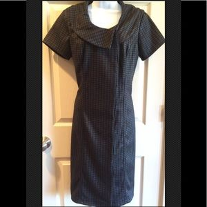 ESHAKTI Houndstooth NWT Belted Collar Gray Black